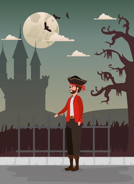Design de halloween com pirata e castelo Vetor grátis