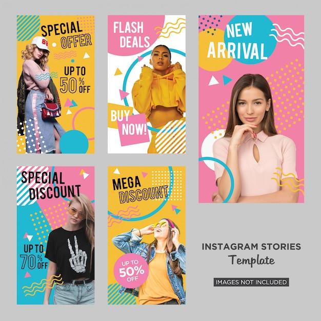 Design de histórias de mídia social de moda memphis Vetor Premium