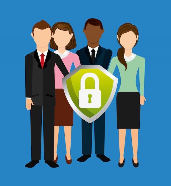 Design de ícone seguros Vetor Premium