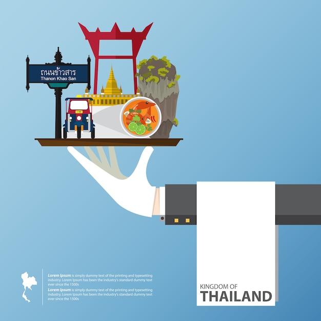 Design de ícones plana dos marcos da tailândia. Vetor Premium