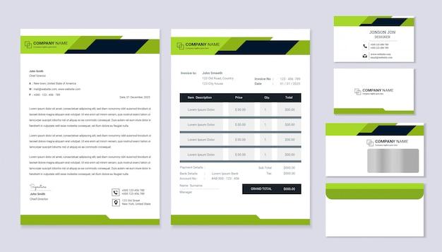 Design de identidade corporativa de negócios de papelaria clássico com modelo de papel timbrado, fatura e cartão de visita. Vetor Premium