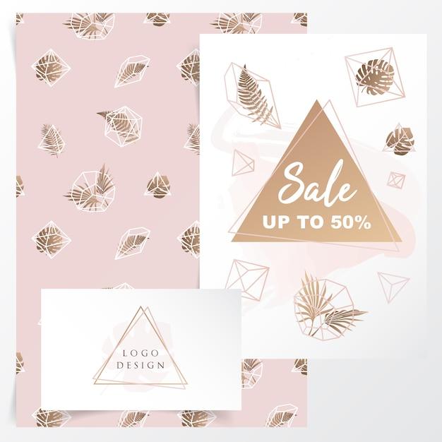 Design de identidade de marca feminina com padrão floral geométrico Vetor Premium