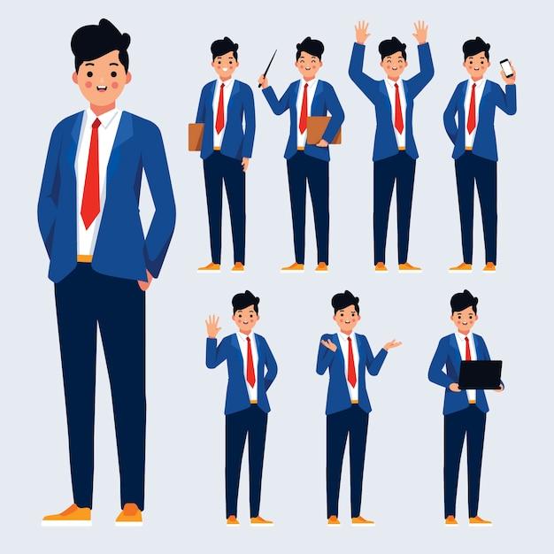 Design de ilustração de poses de personagens Vetor Premium