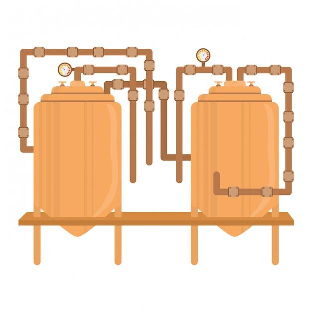 Design de imagem de ícone de tanques de cerveja Vetor Premium
