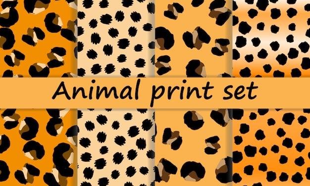 Design de impressão de leopardo. padrão de pele de animal. Vetor Premium