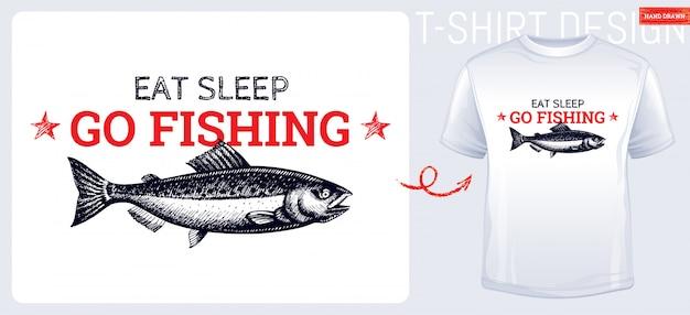 Design de impressão de t-shirt de peixe salmão na mão desenhada estilo de desenho. peixe gravado vintage. Vetor Premium