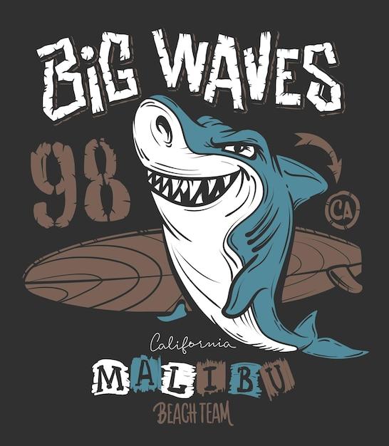 Design de impressão de t-shirt surf shark, ilustração. Vetor Premium