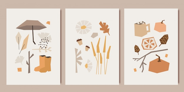 Design de impressões artísticas minimalistas de outono. padrões de estilo cubismo. Vetor Premium