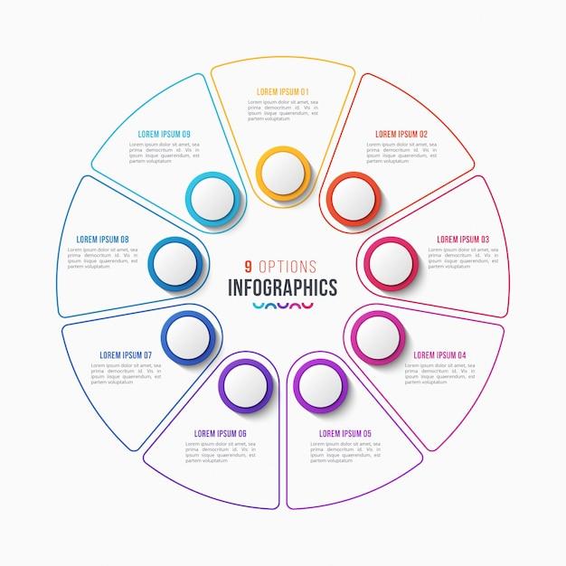 Design de infográfico de 9 partes, gráfico de círculo Vetor Premium