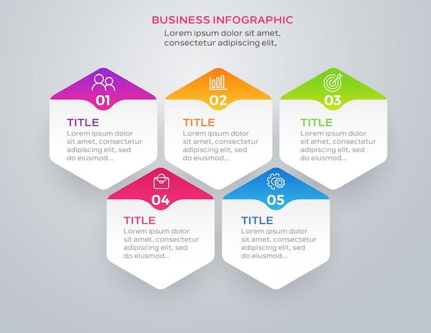 Design de infográfico de negócios com 5 opções Vetor Premium