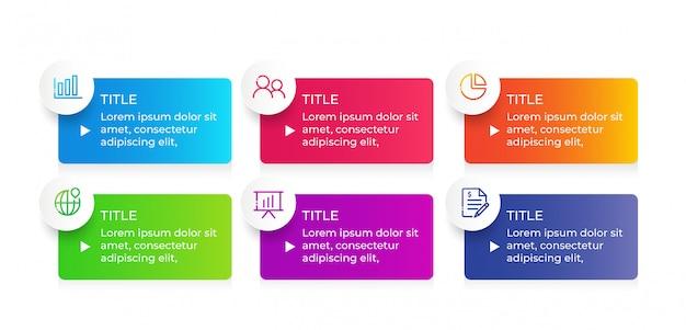 Design de infográfico de vetor com etapas de 6 opções Vetor Premium