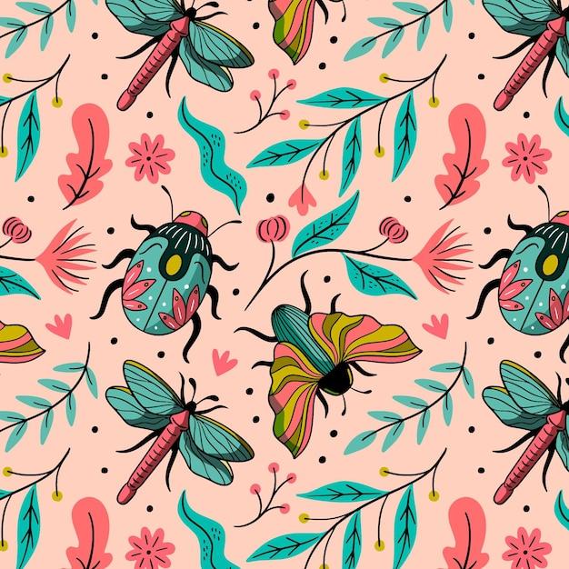 Design de insetos e flores padrão Vetor grátis