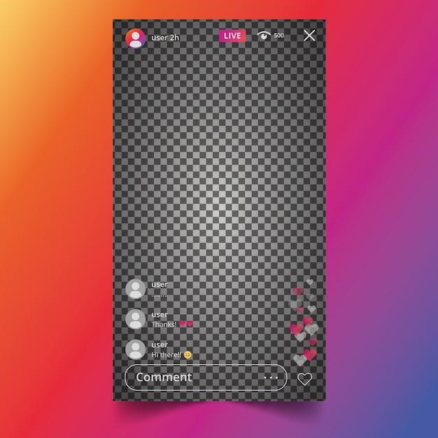 Design de interface do instagram de transmissão ao vivo Vetor grátis
