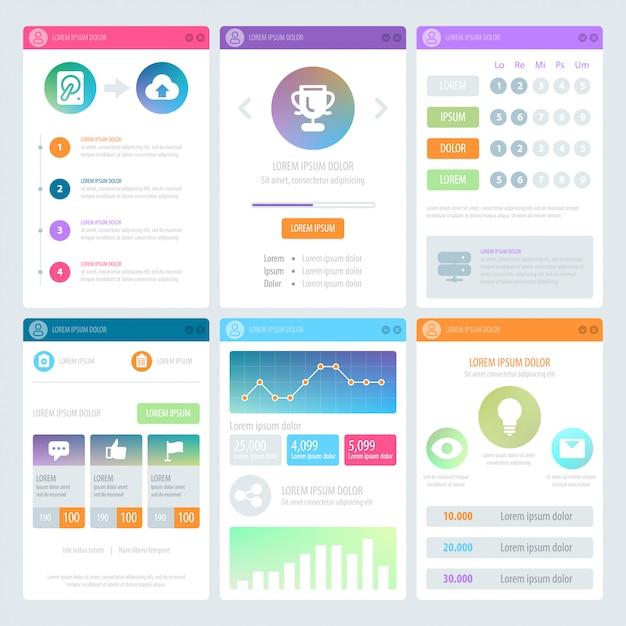 Design de interface do usuário móvel plana Vetor Premium