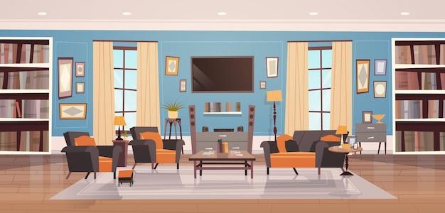 Design de interiores aconchegante sala de estar com mobiliário moderno, janelas, sofá, mesa poltronas Vetor Premium