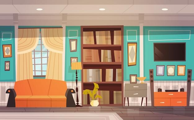 Design de interiores aconchegante sala de estar com móveis, janela, sofá, estante e televisão Vetor Premium