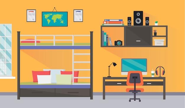 Design de interiores de sala de adolescente com espaço de trabalho na moda para trabalhos de casa Vetor Premium