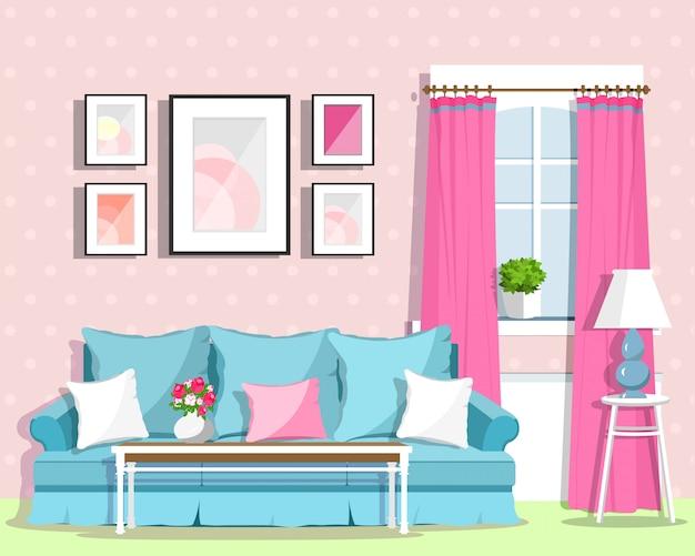 Design de interiores de sala de estar colorido bonito com mobília. sala de estilo retro. ilustração de estilo simples Vetor Premium