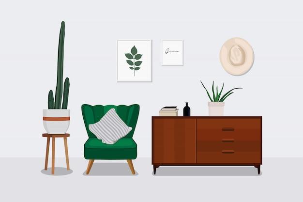 Design de interiores de sala escandinava. Vetor Premium