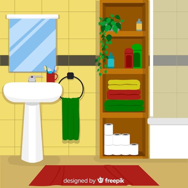 Design de interiores moderno banheiro com design liso Vetor grátis