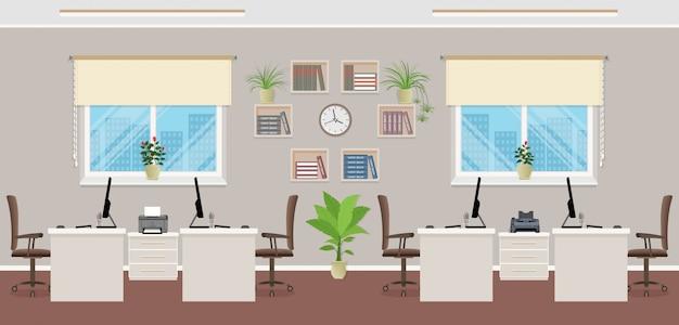 Design de interiores openspace com quatro locais de trabalho. conceito interior de escritório, incluindo mobiliário de escritório e janelas. Vetor Premium