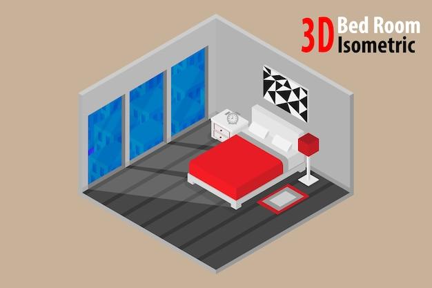 Design de interiores quarto com cama e acessório Vetor Premium