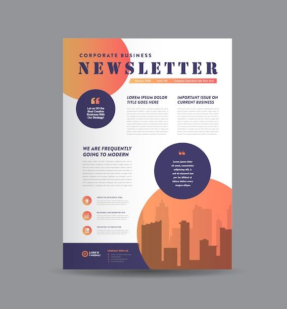 Design de jornal, design de relatório mensal ou anual Vetor Premium