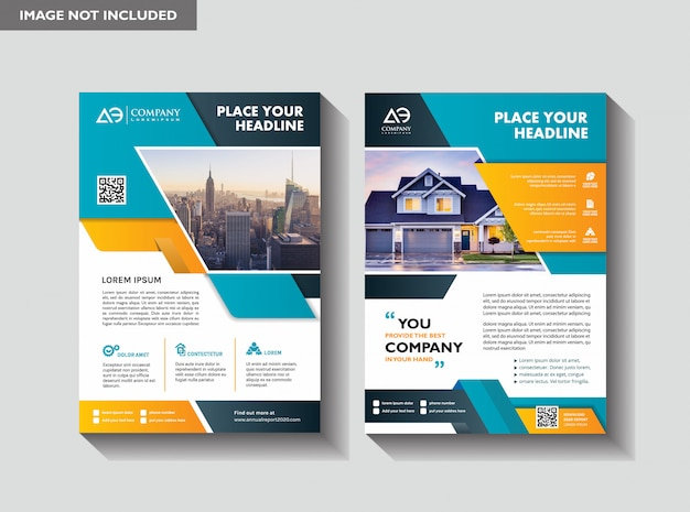 Design de layout de modelo de panfleto para imóveis Vetor Premium