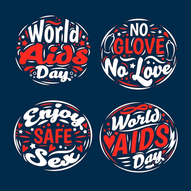 Design de letras do dia mundial da aids Vetor grátis