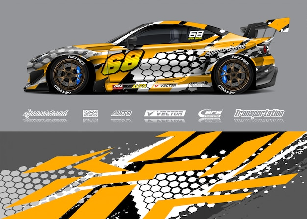 Design de libré para carro de corrida Vetor Premium