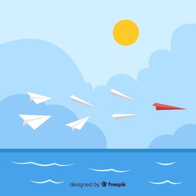 Design de liderança com aviões de papel Vetor grátis