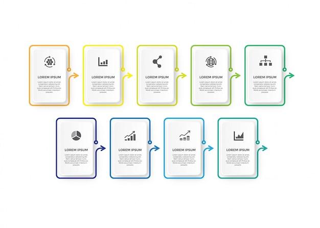 Design de linha fina de infográfico quadrado minimalismo. Vetor Premium