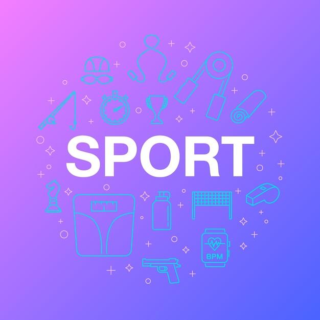 Design de linha plana de ícones do esporte. Vetor Premium