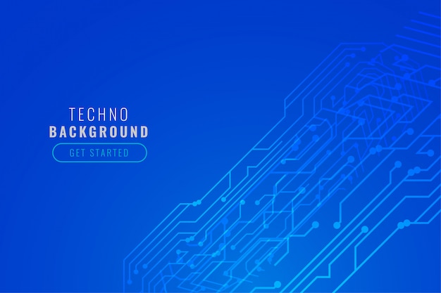 Design de linhas de circuito de tecnologia digital azul Vetor grátis