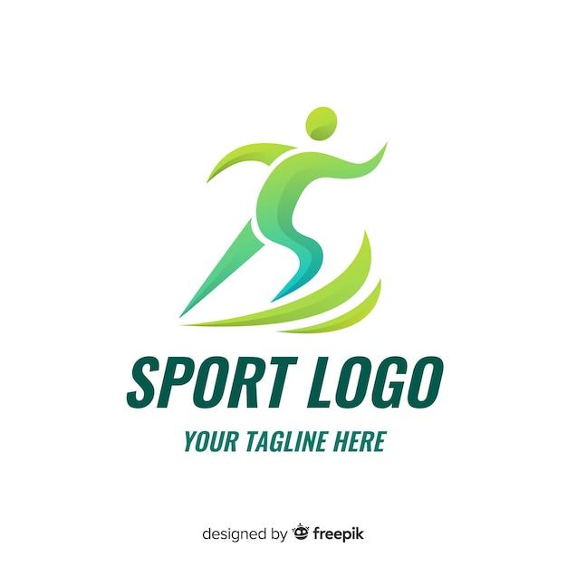 Design de logotipo abstrato esporte silhueta plana Vetor Premium