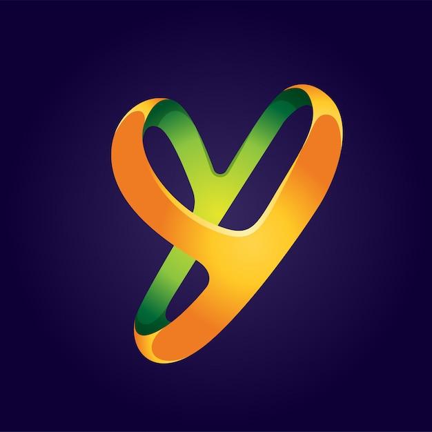 Design de logotipo abstrato letra y Vetor Premium