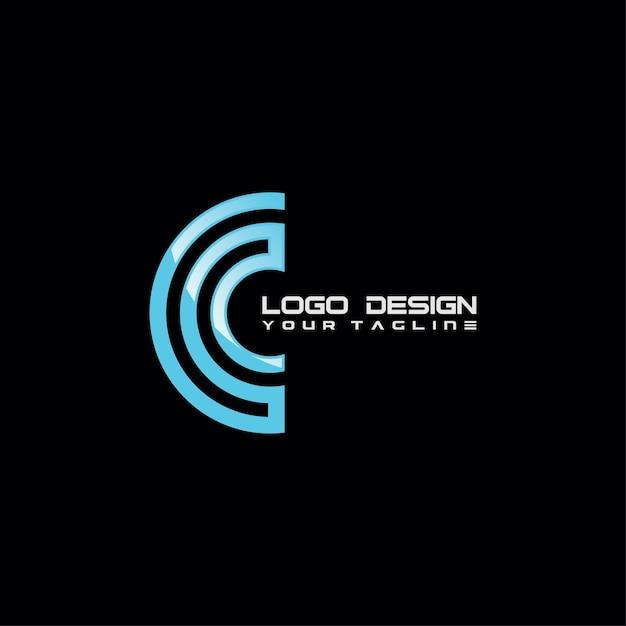 Design de logotipo abstrato moderno c símbolo Vetor Premium