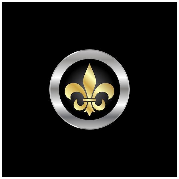 Design de logotipo artístico dourado flor de lis de prata Vetor Premium