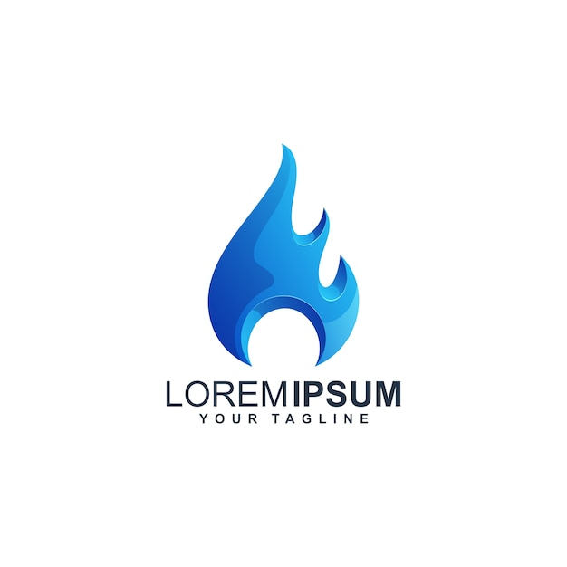 Design de logotipo azul água w Vetor Premium