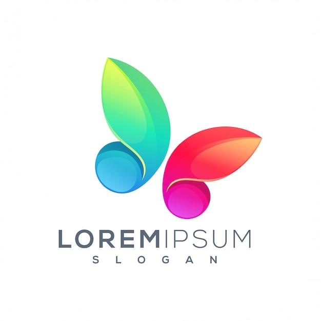 Design de logotipo borboleta Vetor Premium