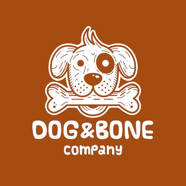 Design de logotipo branco de cão e osso Vetor Premium