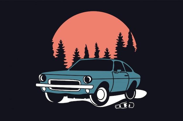 Design de logotipo clássico ou vintage ou carro retrô Vetor Premium