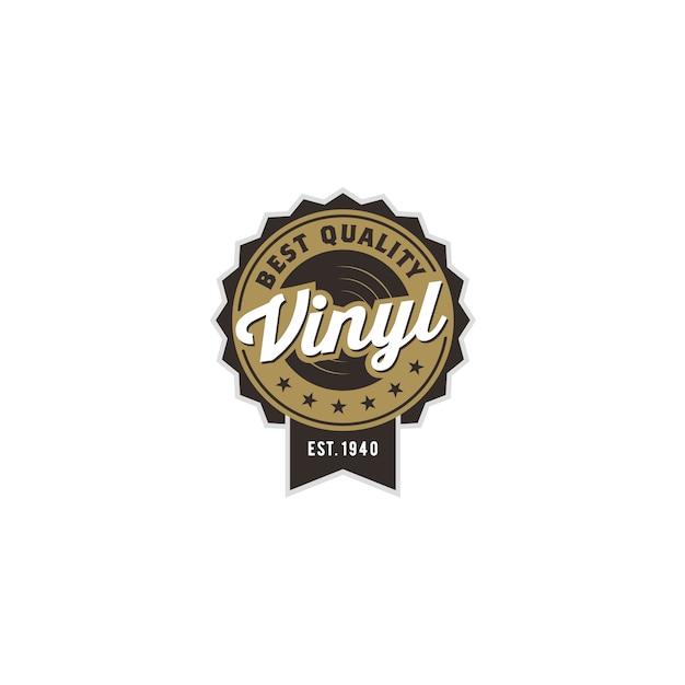 Design de logotipo clássico vintage gramofone música vinil record Vetor Premium
