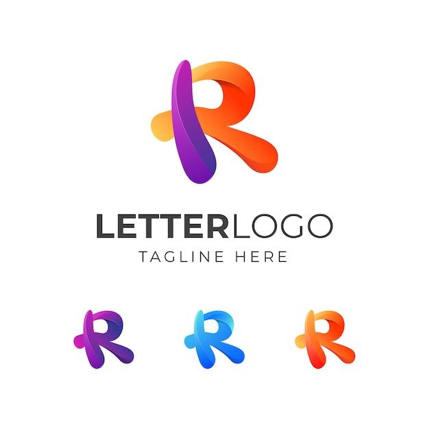 Design de logotipo colorido com a letra r Vetor Premium