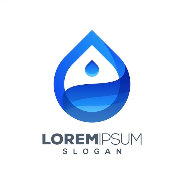 Design de logotipo colorido de água Vetor Premium