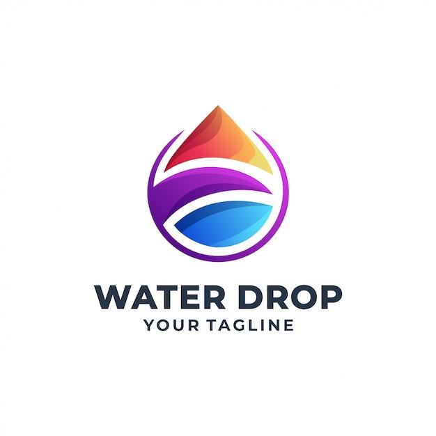 Design de logotipo colorido de gota de água Vetor Premium
