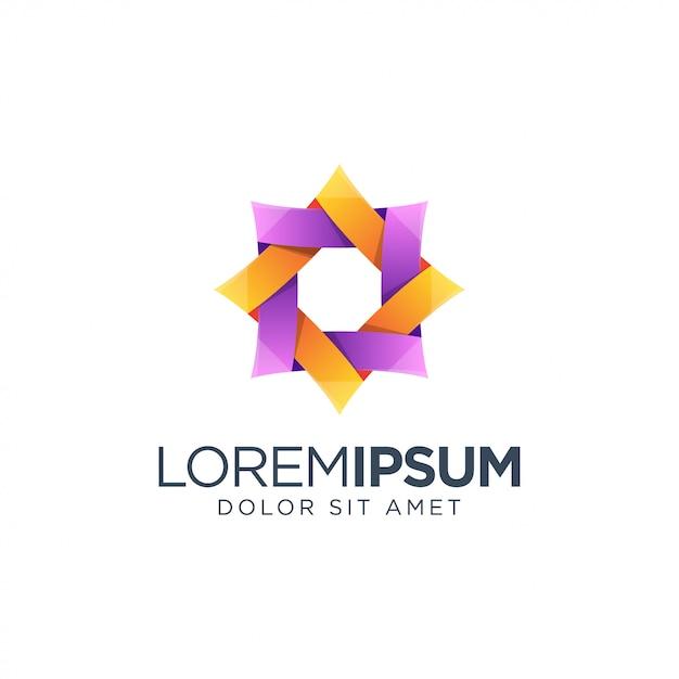 Design de logotipo colorido do hexágono Vetor Premium