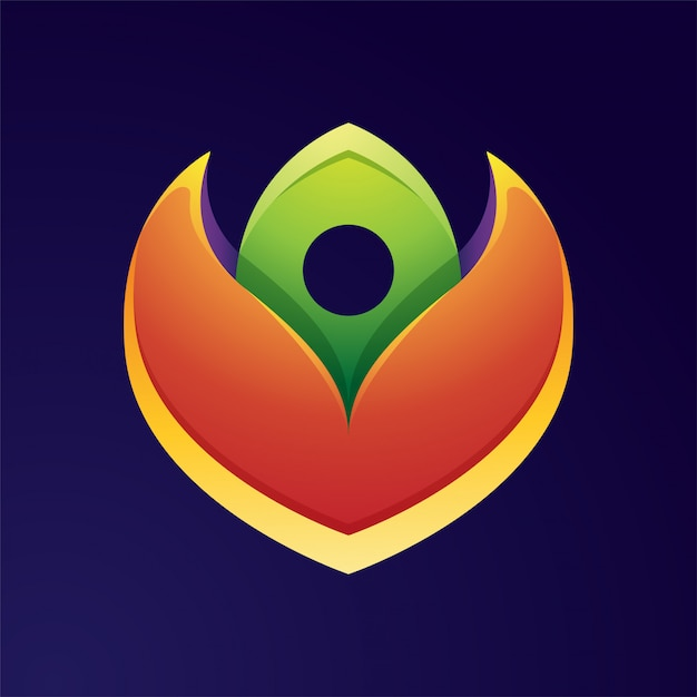Design de logotipo colorido flor flor Vetor Premium