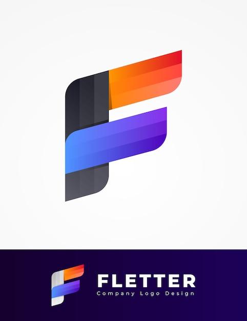 Design de logotipo colorido letra f Vetor Premium