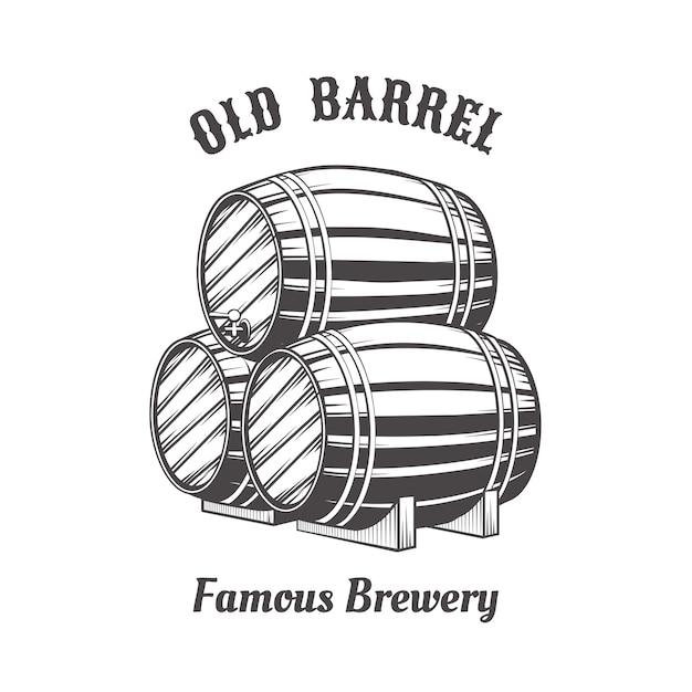 Design de logotipo com barris de cerveja em madeira para pab. Vetor grátis